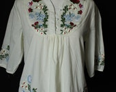 Women Blouse Top T-shirt Tunic Cotton Shirt Embroidered Mexican Style Tunic Ladies Shirt