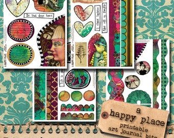 A Happy Place - Printable Art Journal Bits