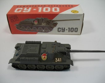 Made in USSR. Heavy Metal tank destroyer. Moving Cannon Su-100 /CY-100. Original Box. RAReMINT Russian vintage - Great model toy 1:43 Scale