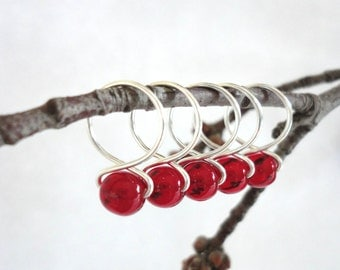 Pomegranate - Handmade Snag Free Knitting Stitch Markers (Medium) - Fit up to size 11 US (8.0 mm)