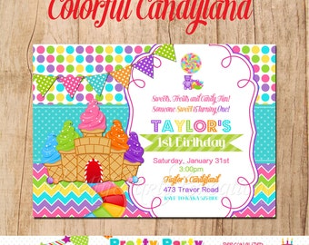 COLORFUL CANDYLAND invitation - You Print  - treasury featured