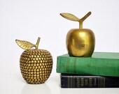 Studded Brass Apple Paperweight