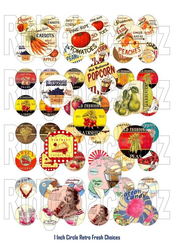 1 Inch Circle Retro Fresh Choices Digital Sheet. INSTANT DOWNLOAD. 48 Images. Printable Digital Sheet