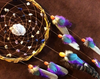 Dream Catcher- Magic Dragon Scale- White Willow Dream Catcher- With Lepedolite and Beautiful Feather Work- Made to Order