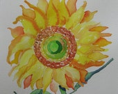 Sunflower watercolor painting, Oiginal sunflower watercolor painting