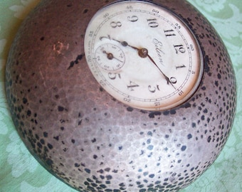 Silver Desk clock paper weight wind up small Art Deco style vintage petite EILEEN