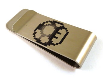 8-Bit Gamer Mushroom Stainless Steel Money Clip 8 Bit Old School Video Game 1-UP One Up Shroom Billfold
