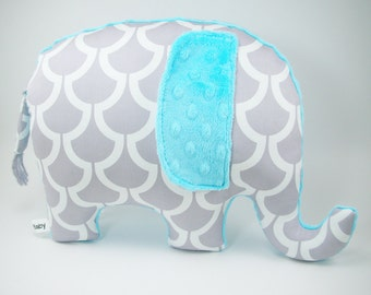 Modern turquoise nursery decor, Elephant Pillow toy, grey and turquoise