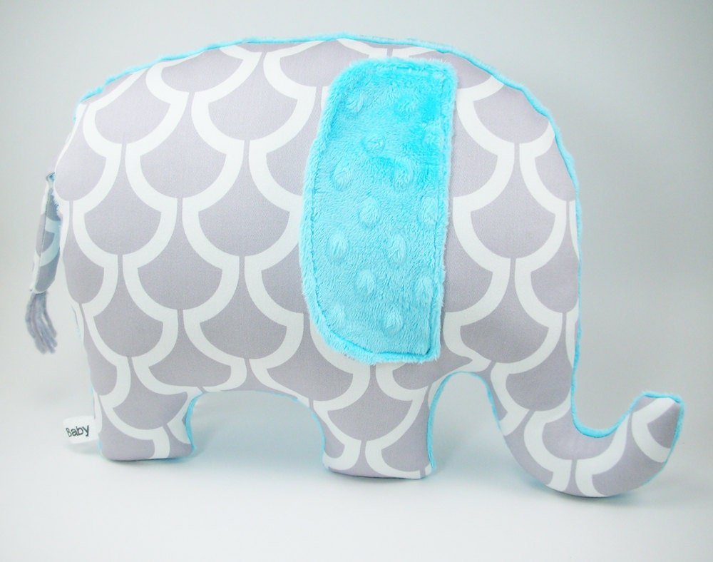 Modern Turquoise Nursery Decor Elephant Pillow Toy Grey And
