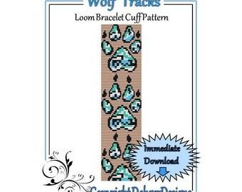Bead Pattern Loom(Bracelet Cuff)-Wolf Tracks
