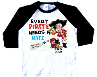 Birth Announcement Pirate tee shirt graphic tee big brother shirt big brother to be Pirate pregnancy announcement Every Pirate needs a Mate