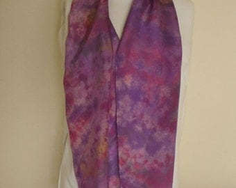 Silk scarf hand dyed multi-color purple, red, gold, green