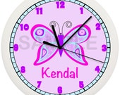 Personalized Purple and Pink Butterfly Nursery Wall Clock