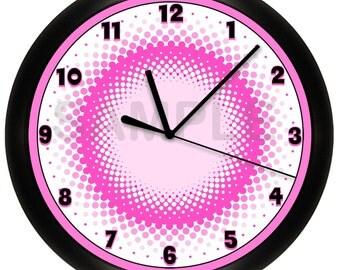 Pink and White Polka Dots Wall Clock Wal