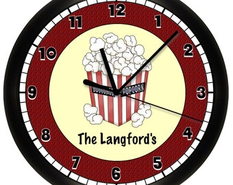 Personalized Home Theater Wall Clock Movie Night