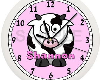 Pink or Blue Cow Nursery Wall Clock Personalized 10 Inch