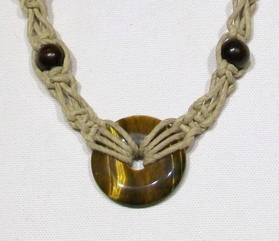 Hemp Necklace with Golden Tiger Eye Sacred Circle Pendant