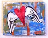 """Mixed Media Original by Susie Carranza - """"forever"""". 8"""" X 10"""" canvas. Acrylic paints, recycled papers."""