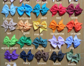 Set of 20 pieces 3 inch hair bow - baby hair bow - girl hairbow hairbows 25 colors for you to pick - attached lined alligator clip