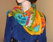 1980s vintage Rare ECHO SCARF the tropical village with Palm trees and villages. Large and Light weight