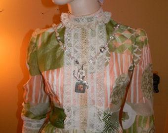 vintage TONI TODD gunne sax Gown.Light sage green & Peach stripped pattern. wedding. Graduation. Vintage Holiday Dress