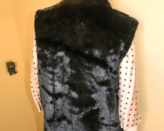 Mens or Womens GIACCA Reversible Faux Mink Fur vest. Vintage unisex Couture Outerwear. GALLERY Co.Heavy Waterproof Vinyl LINING .Size Medium