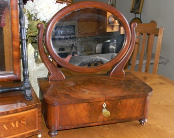 Antique Mahogany Shaving vanity w/MIRROR.DOVETAIL  jewelry drawer. Fathers Day gifts.Old world style. Cherry wood! Valentines Day for him!