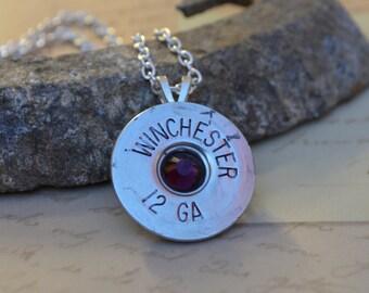 Shotgun Shell Jewelry Casing Amethyst Swarovski Gem Pendant Necklace
