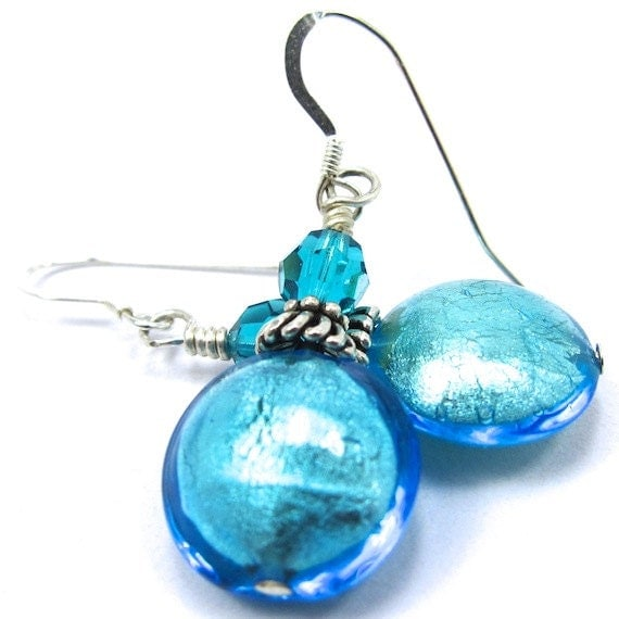 Teal Blue Venetian Glass and Swarovski Crystal Earrings, Sterling Silver Earwires