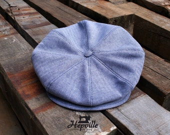 Newsboy Cap, Indigo Herringbone Chambray, Size 59 - Single Piece