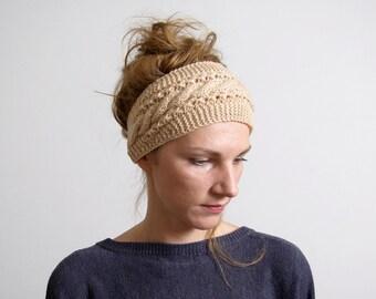 Womens Headband, Headbands For Women, Hand Knit Headband,  Headbands,  Ear Warmer,  Light Caramel,  Accessories  Handmade  Gift for her