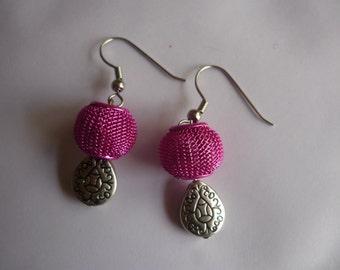 pink basket earrings