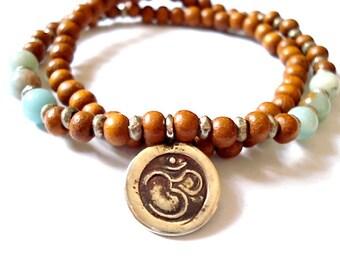 Doube Wrap Mala Bracelet, Silver Om Charm, Wooden Mala Beads, Green Aventurine Beaded Bracelet