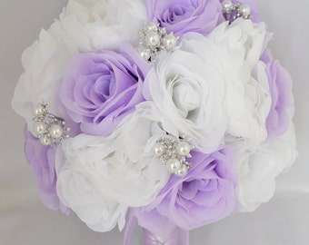 """Wedding Bridal Bouquet Silk Flowers bouquets Decoration 17 pieces Package WHITE LAVENDER """"Lily Of Angeles"""""""