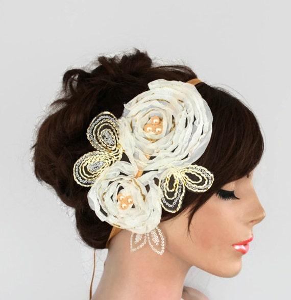 Ivory applique floral headband tiara, bridal fascinator, weddings head piece, handmade, ooak