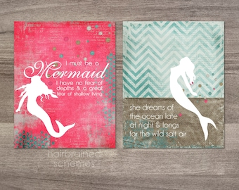 Digital Art Prints Mermaid Print Wild Salt Air Duo Dark Aqua Blue Hot Pink Modern Mermaid Quote Must Be a Mermaid Posters Diptych Typography