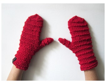 Warm hand-knitted mittens, 100% wool.