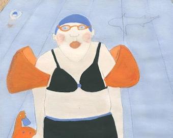 Woman portrait swimmer swimming pool shark funny illustration whimsical wall art A4 size blue decor giclee print art print gift for swimmer