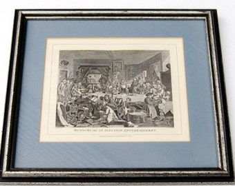 Vintage Lithograph Cartoon Print: Hogarth Canvassing for Votes, Litho Print, English Historical Cartoon, Framed Black and White