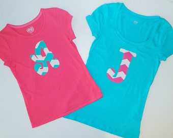 Tween, girl, toddler, baby hot pink or turquoise blue SHIRT with chevron personalized number or initial applique NB -16- fun for birthdays