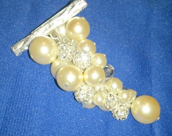 Vintage Faux Pearl and Rhinestone Grape Cluster Brooch