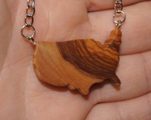 Olive Wood Pendant, wood jewelry, USA