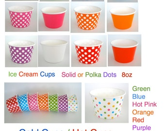 Paper Cups Ice Cream Cups Yogurt Cups 12 Cups, 8 oz. Strong & Sturdy Yogurt Cups Chili Bowls Snacks Fruit Cups Candy Cups Cold/Hot Cups