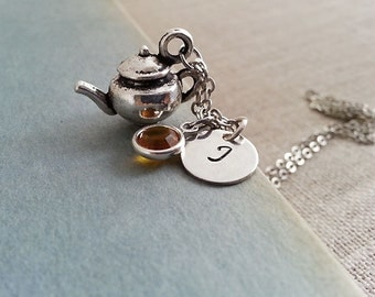 Initial Necklace. Silver Teapot Necklace. Swarovski Birthstone. Personalized Gift.  English Tea. Tea Lovers Necklace