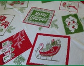 Vintage tablecloth Christmas Greeting Cards Classic Rare pattern Angel Sleigh