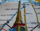Vintage towel souvenir map Eiffel Tower Paris attractions French poodle