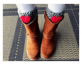 Heart Bootcuffs Grey crocheted boot cuff leg warmers with heart bootcuff Valentines