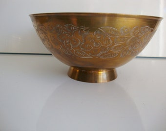 Sarna Brass footed bowl Flower etching