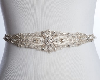 wedding belt with bling, wedding dress sash, rhinestone bridal sash, designer wedding sashes and belts, bridal sash LYANE - Style W-SB060