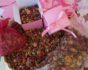 RED ROSE PETALS & Buds ~ Red Rose Sachets - Wedding Toss Bridal Favor Box - Organic Natural Flower 1oz
